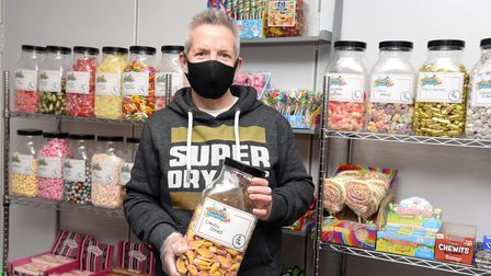 Chris Daynes with some of the retro sweet jars at the new Sweets Reunited shop in Felixstowe