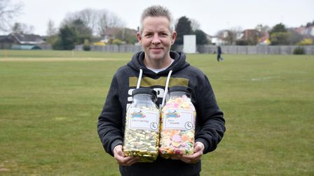 Chris Daynes with a couple of jars of sweets from the new Sweets Reunited shop in Felixstowe