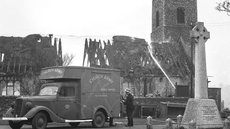 Pakefield Church after the bombing in April 1941.