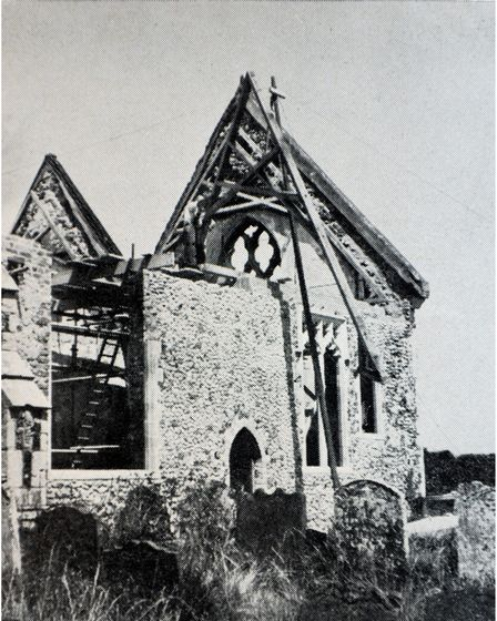 Pakefield Church after the bombing in 1941.