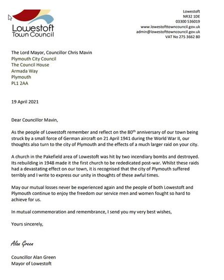 The letter from the Mayor of Lowestoft, Alan Green, to Plymouth City Council.