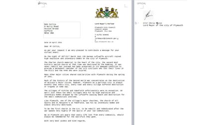 The message in a letter from the Lord Mayor of Plymouth.