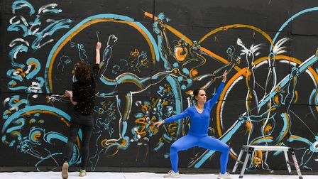 Shoreditch mural and dance performance.