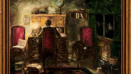 Heinz's painting of himself at his desk, the calendar date references Eva's birthday