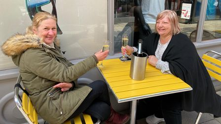 Friends Corrina Theobald and Julie Thetford enjoying a catch-up outside The Vine Thai in Norwich in April 2021.