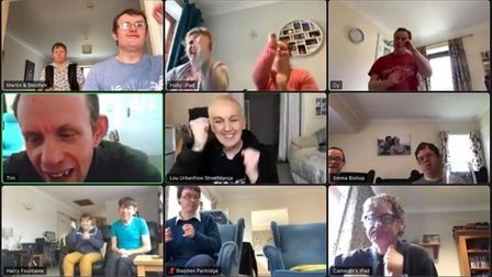 Some of the residents at Otterhayes during an online video call