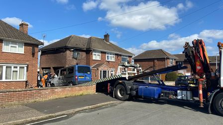 The van was recovered on Wednesday afternoon following a fire on Foxburrow Road, Sprowston.