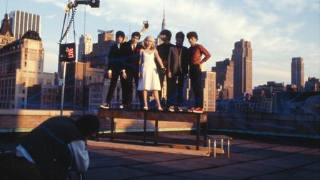 Blondie in New York, 1978. Pictured from left to right: Clem Burke, Chris Stein, Debbie Harry, Jimmy