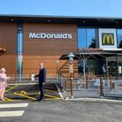 Janet Ellis and local franchisee Lee Sparkes at the official opening of the new McDonald's restaurant in Lowestoft.