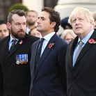 Prime Minister Boris Johnson (right) and Defence Minister Johnny Mercer (centre) during a service at