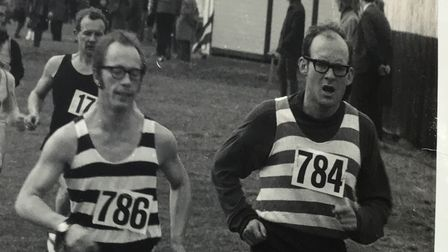 Highgate Harriers' Richard Cox (786) and Alastair Aitken (784) in 1970