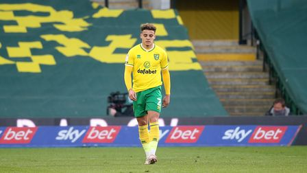 Max Aarons of Norwich looks dejected after his side concedes itÕs 1st goal during the Sky Bet Champi