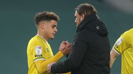 Norwich Head Coach Daniel Farke and Max Aarons of Norwich at the end of the Sky Bet Championship mat