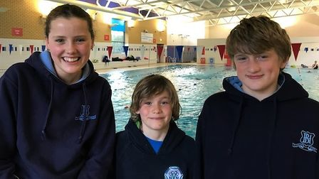 North NorfolkVikingsSwimming Club members, from left,Romilly Hammond, 13, Noah Buchan, 10, and brotherIsaac, 12.
