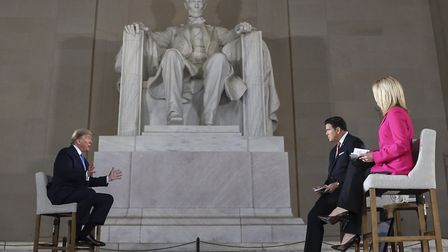 US President Donald Trump speaks with news anchors Bret Baier and Martha MacCallum at the Lincoln Me