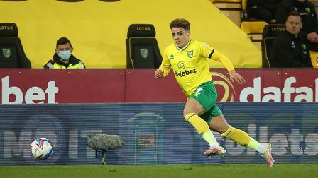 Max Aarons of Norwich in action during the Sky Bet Championship match at Carrow Road, Norwich