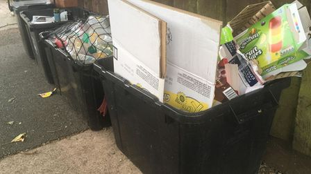 Recycling ready for collection outside a house in Torquay