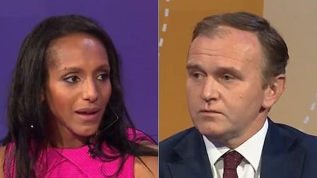 Aufa Hirsh (left) and Tory minister George Eustice (right) who both appeared on BBC Question Time. A