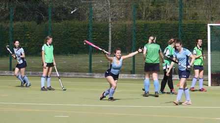 Millie Payne enjoys her goal for the second team