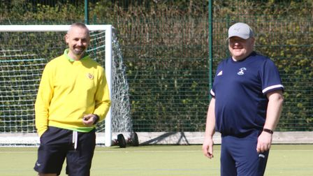 All smiles for Iain Moor's (right) first game as umpire