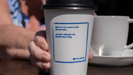 Hug poem on a mug.Unexpected Poetry by Ministry of Stories