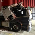 crushed lorry at port of felixstowe