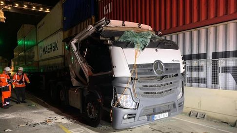 Lorry crushed by container at Felixstowe port