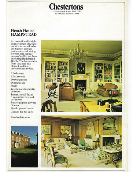 An 1970s Chestertons estate agent's advert for Heath House