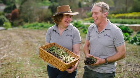 Anita and Chip DeGreeff of Bothen Hill with some of their West Dorset asparagus