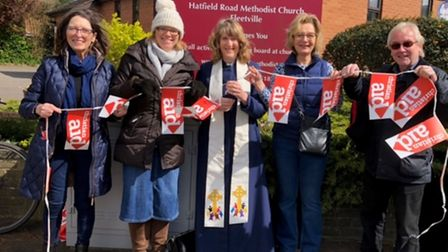 Some of the walkers taking part in the churches' sponsored walk across St Albans.