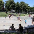 Letchworth's Howard Park water jets and paddling pool summer 2019.