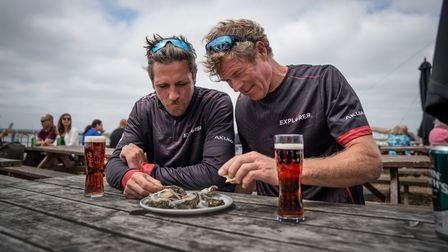 Enjoying oysters and beer in Mersea