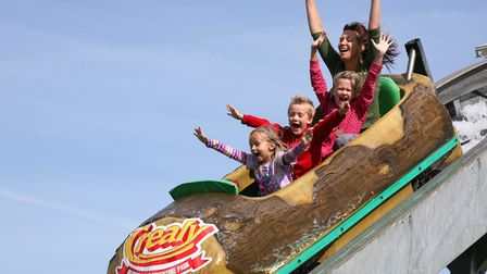 Visitors on a rollercoaster at Crealy Adventure Park, Devon.