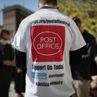 Protesters outside the Royal Courts of Justice in London, where dozens of former subpostmasters who