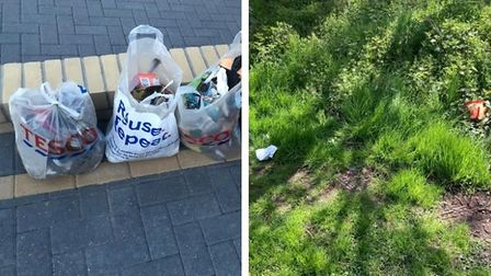 Rubbish has been cleaned up onRadcliffe Drive, left, and left in Stonelodge Park, right.