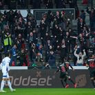 FC Midtjylland fans react as their team goes 1-0 up against  FC Copenhagen