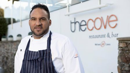 Michael Caines outside The Cove, Maenporth, Falmouth