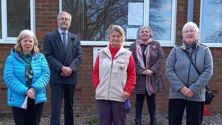 Pat France, Haydn Thirtle, Iris Bourne, Glenda Tooke (Treasurer), Sheila Ridout outside Rollesby Village Hall