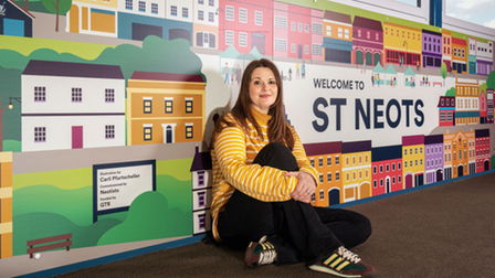 Unique mural to 'bridge the gap' at St Neots station, created by illustrator Carli Pfurtscheller.