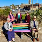 Honiton Hospital & Community League of Friends unveil one of three new rainbow friendship benches