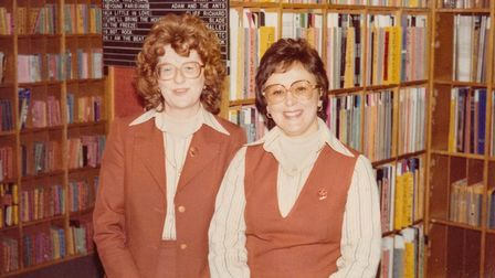 The WH Smith record girls, Beryl, left, and Monica