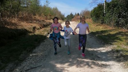 Shute Primary School pupils Poppy Jenns, Paloma Moorley and Maddie Dowell