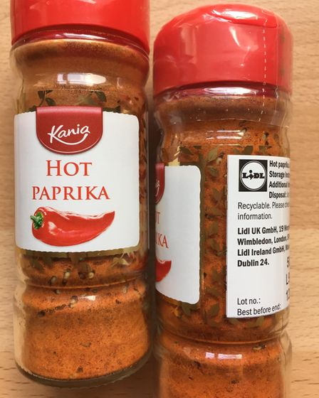 The maggots or larvae can be seen at the bottom of the Kania Hot Paprika jar.
