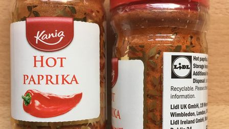 Kania Hot Paprika jars bought at Well Street Lidl.