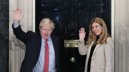 Prime Minister Boris Johnson and his girlfriend Carrie Symonds. Photograph: Yui Mok/PA.