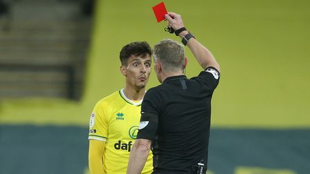 Norwich City defender Dimitris Giannoulis serves the second of a three-game ban for his red card against Bournemouth