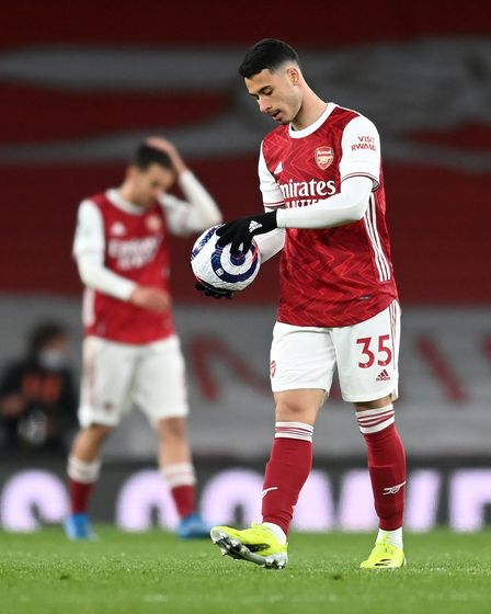 Arsenal's Gabriel Martinelli during the Premier League match at the Emirates Stadium, London. Pictur