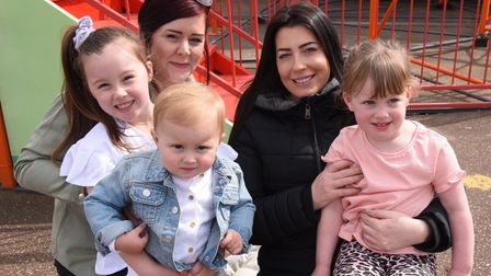 Leanne Clark, left, with her children, one-year-old Emilia, and Bebe, six; and Jemma George with her