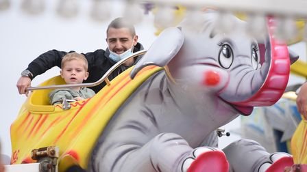 The Dumbo ride is a big hit as the Pleasure Beach opens to welcome back the public. Picture: DENISE