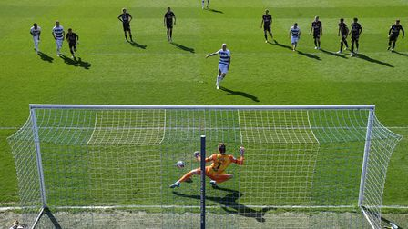 Queens Park Rangers' Lyndon Dykes sees his penalty saved by Norwich City goalkeeper Tim Krul